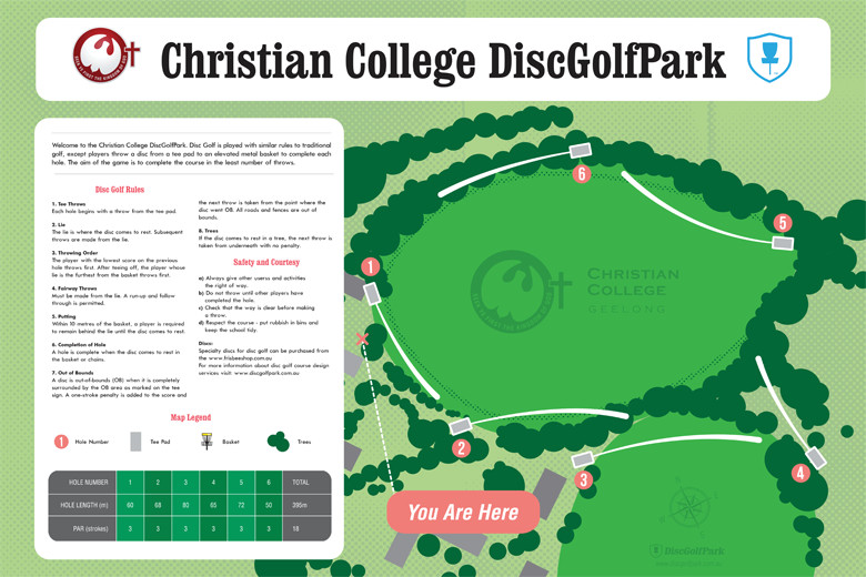 Christian College DiscGolfPark Infoboard image