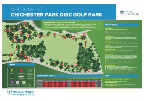 An map image of Chichester park Disc golf park