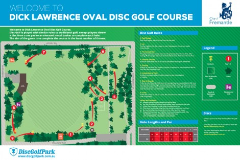 An image of Dick Lawerence oval disc golf course map